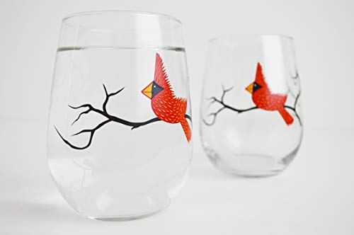 Cardinal Stemless Wine Glasses – Set of Two 17 oz Stemless Cardinal Glasses, Red Bird Glassware Review