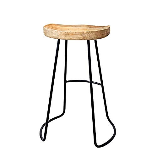 Boosc Vintage Rustic Kitchen Pub Bar Stools Set with Black Metal Frame and Solid Wood Seat Industrial Style Modern Iron Art Wood Bar Chair Stool Household Cafe Cold Drinking Shop Stool (Size : 65CM)