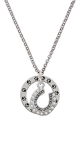 Beaded Clear Crystal Horseshoe with Good Luck - Paw Prints Affirmation Ring Necklace