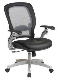Light Air Grid Chair with Leather Seat and Platinum Accents
