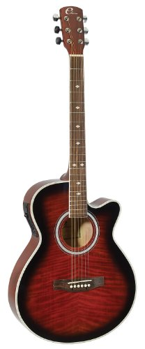Eleca Guitars DAG-8CEQ-RDS Acoustic-Electric Mini Jumbo Guitar, Red Quilted Top
