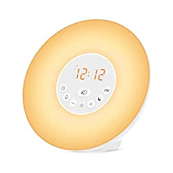 Brilex Wake Up Light Night Lamp with 6 Nature Sounds, 7 Changing Colors, FM Radio Alarm Clock with Snooze Function for Bedrooms, Baby Nursing