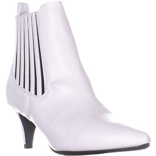 Bar III Womens Elizaa Pointed Toe Ankle Chelsea Boots, White, Size 8.5