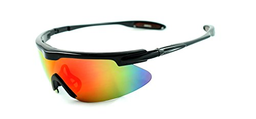 [Lightweight Oversized Sports Shield Mirrored Wrap Around Sunglasses Baseball, Cycling, Running (Black / Purple Lens)] (Gold Wrap Around Sunglasses)