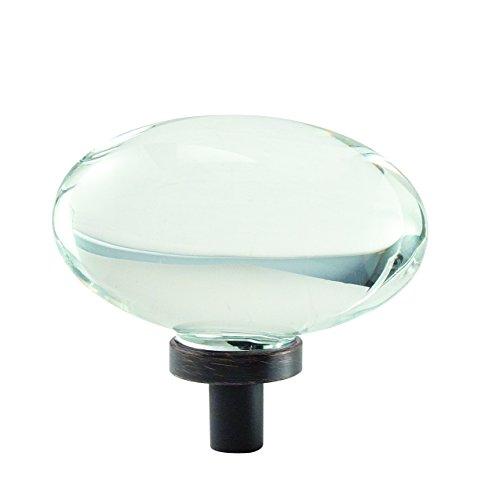 Cabinet Oval Decorative Knob - Amerock Glacio 1-3/4 in. (44mm) Diameter Clear Crystal/Oil-Rubbed Bronze Oval Cabinet Knob