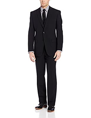 Calvin Klein 44L Slim Fit Solid Black Wool Suit