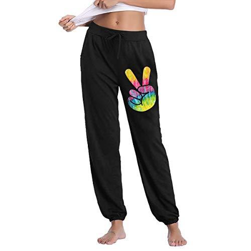 Bubu098PO Womens Jogger Sweatpants Tie Dye Psychedelic Peace Sign Close Bottom Lounge Pants