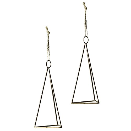 Dark Gold Metal Triangle Air Plant Hanger w/ Twine - Set of 2 - 2.5 x 2.5 x 5 Inches - Tillandsia Holder w/ Pyramid Design - Global Modern Hanging Decor for Home, Deck or Office - Metal Twine