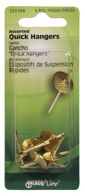 Hillman One Piece Picture Hanger Assortment Brass Plated Carded (Carded Assortment)