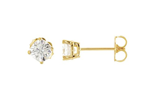 Charles and Clovard 14k Yellow Gold Antique Square Moissanite Solitaire Earrings by The Men's Jewelry Store