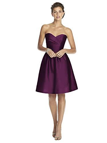(Alfred Sung Women's Strapless Cocktail Length Peau De Soie Dress by Italian Plum - Size)