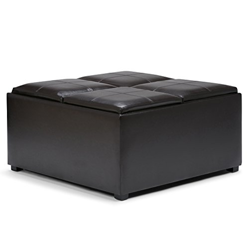 Simpli Home F-07 Avalon 35 inch Wide Contemporary Square Storage Ottoman in Tanners Brown Faux Leather