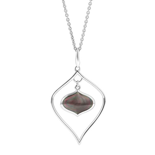Kabana Sterling Silver Black Mother of Pearl Necklace