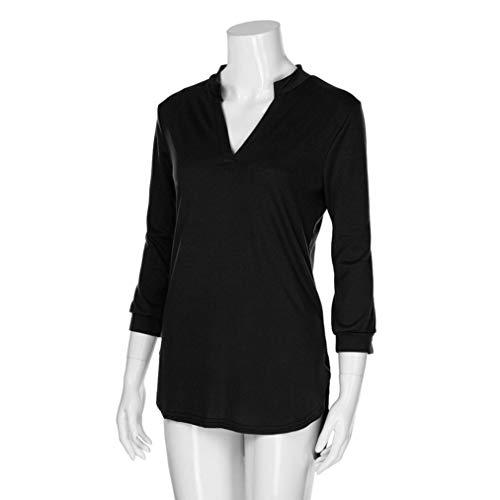 Shirt Col Grande Sept DContract Chemisier Confortable Noir T DTendu Couleur LULIKA Mode Mesdames Cent V Unie 8BqpwnO