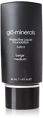 [Glo Skin Beauty Minerals Protective Liquid Foundation, Beige Medium Satin, 1.4 fl. oz.] (Satin Finish Foundation)