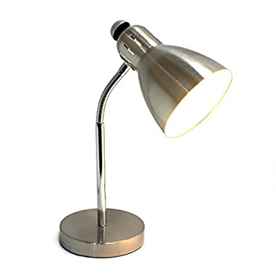 Simple Designs Home LD1037-BSN Simple Designs Semi-FLEXIBLE Desk Lamp, Brushed Nickel - Brushed Nickel finish Convenient on/off switch on lamp shade Semi-flexible gooseneck - lamps, bedroom-decor, bedroom - 310VUcJUS5L. SS400  -