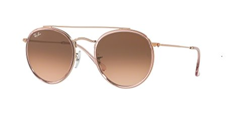 Ray-Ban RB3647N Round Double Bridge 9069A5 51M Pink/Clear Brown Gradient Sunglasses For Men For Women