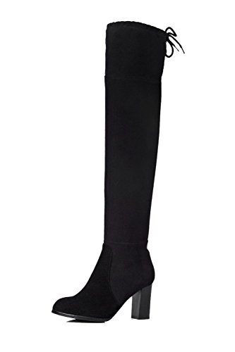AllhqFashion Mujer Sintético Sólido Caña Alta Puntera Redonda Botas Negro-Nudo
