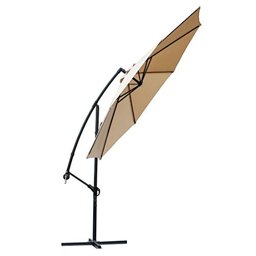 FARLAND Offset Umbrella 10 Ft Cantilever Patio Umbrella Outdoor Market Umbrellas with Cross Base (Beige)