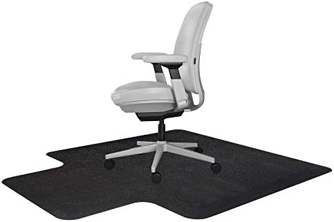 Resilia Office Desk Chair Mat with Lip for Carpet with Grippers Black, 36 Inches x 48 Inches, Made in The USA