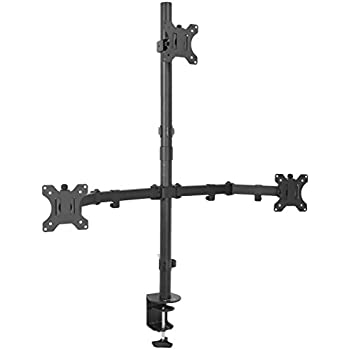 "VIVO Triple LCD Monitor Desk Mount Stand Heavy Duty & Fully Adjustable 3 Screens up to 27"" (STAND-V003T)"
