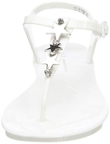 Para Rubber Armani Exchange white Blanco Star 00001 Sandal Mujer Chanclas nqXZBEZ