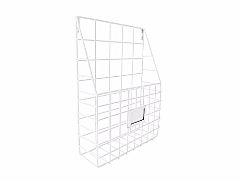 Wall File Organizer Metal White - Simple Chic Adhesive Mounted Wall Organizer, Storage Basket for Magazine, Mail Holder, Office Supplies and Decorations - by Lastly by Lastly
