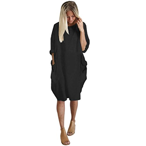 Price comparison product image Women Long Sleeve Shirt Dress, Ladies { Loose Dress Plus Size } Crew Neck Pocket Long Tops (M, Black)