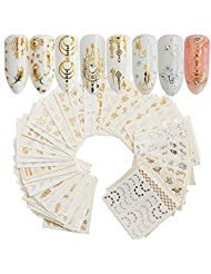 (30Sheets Gold Silver Nail Art Water Transfer Decals Metallic Nail Stickers Butterfly Lace Flower Dream Catcher Feather Nail Decorations)