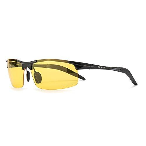 57962dd3d0 Deporte Gafas de HD Visión para Conduccion Nocturna Moda Hombre Polarizadas  Lente Amarilla Anti Reflectante Ultraligero