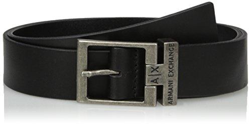 Armani Exchange Men's Logo Buckle Leather Belt, black, (Leather Logo Buckle)