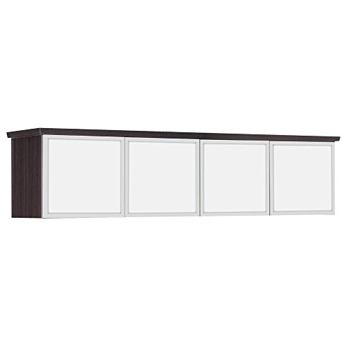 Pimlico Wall Mounted Hutch - 70''W Dimensions: 70''W x 16''D x 18''H Weight: 143 lbs Mocha Finish/White Glass/Aluminum Frame by DMI Furniture