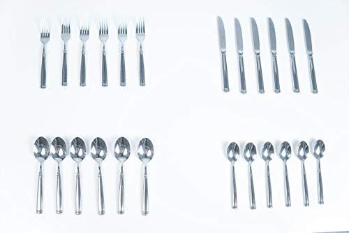Jean-Patrique Stainless Steel Athena Cutlery Set | Flatware Set | Silverware Tableware Dinnerware with Knife Spoon Fork - 24 Piece ()