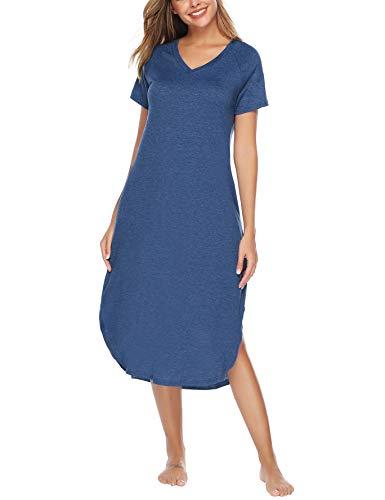 Aibrou Women's Cotton V Neck Long Nightshirt Short Sleeve Nightgown S-XXL Dark Blue