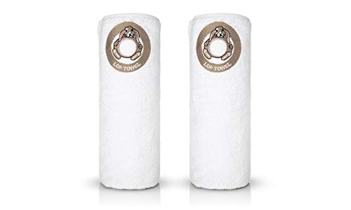 - White Bath Towel with Lop Embroidery, Beige Logo Come in 6, Easy to Hang The Towel Hang by The Loop of Lop, Genuine Soft 100% Turkish Cotton, Comes Two Towels in a Gift Box, 550gsm 28