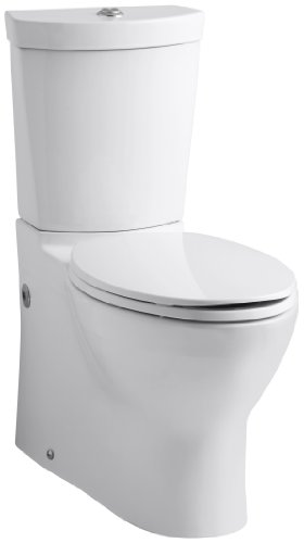 Kohler K-3654-0 Persuade Two-Piece Elongated Toilet with Dual Flush Technology, Less Seat, White (Actuator Traditional Flush)