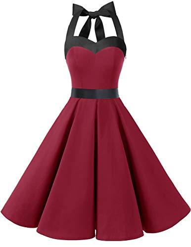 DRESSTELLS Vintage 1950s Rockabilly Polka Dots Audrey Dress Retro Cocktail Dress DarkRed S