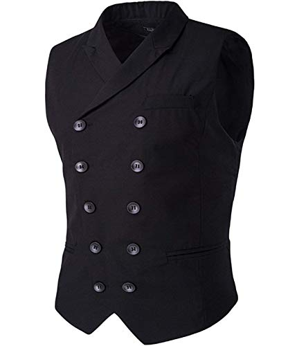 Cloudstyle Mens Vest Fashion Slim Fit Double-breasted Solid Vest Black 1 X-Large
