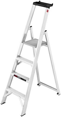 Hailo ProfiLine P250 de aluminio profesional Plataforma de escalera (con bandeja y gran plataforma, 4 niveles, soporta hasta 250 kg) 8204 – 250: Amazon.es: Bricolaje y herramientas