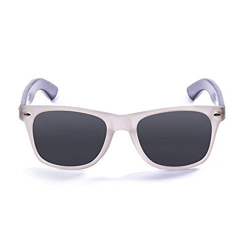 b47e9836cfdd97 Ocean Sunglasses Beach Lunettes de soleil White Transparent Frame Wood Dark  Arms Smoke Lens