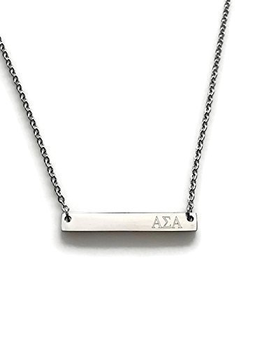 Alpha Sigma Alpha Sorority Necklace Silver Stainless Steel 18 inch Greek Life Bid Night Gift Big Little Sister