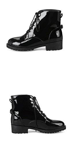 Hitime Skinn 2 Klassisk Snøring Patent vinter Topp Kjole Martin Svart Vanntett Høy Størrelse 11 Boots Bowknot 88rwU
