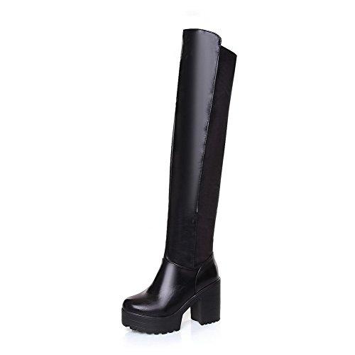 AllhqFashion Damen Rein Blend-Materialien Hoher Absatz Ziehen auf Rund Zehe Stiefel Schwarz