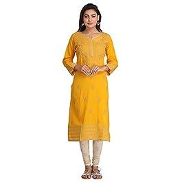 Ada Lucknowi Chikankari Hand Embroidery Women's Cotton Kurta Kurti Tunic A149691 Black