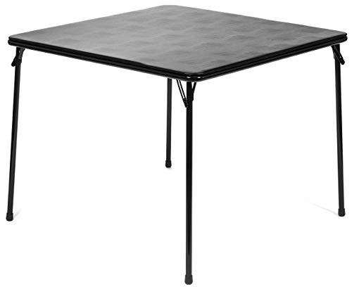 """XL Series Square Folding Card Table (38"""") - Easy-to-Use Collapsible Legs for Portability and Storage - Vinyl Upholstery for Convenient Cleaning - Steel Construction, Wheelchair Accessible (Black)"""