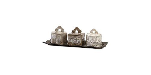 Imax Lidded Box - IMAX 25267-4 Zeller Lidded Boxes with Tray (Set of 4)