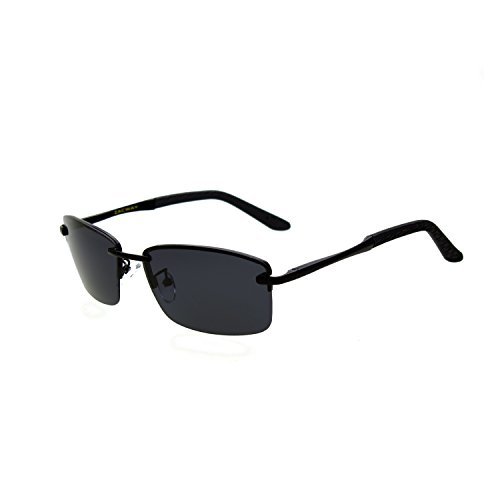 (Zacway Polarized Spring Hinges Metal Predator Sunglasses UV400 60mm (Black Frame/Grey Lens, 60))