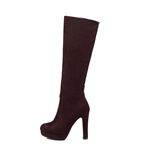 Imitated Women's Top Suede High Solid Boots Mid Heels Zipper Brown AmoonyFashion wIdPqx66