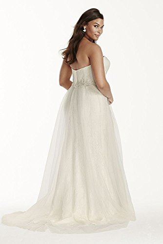 Strapless Tulle Over Lace Plus Size
