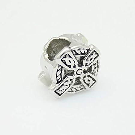 Calvas Irish Celtic Knot Cross Religious Charm Beads Classic Fashion Charm Beads Suitable for Charm Bracelet Color: 1pcs
